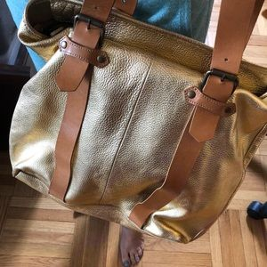 Cynthia Rowley gold leather oversized tote, New